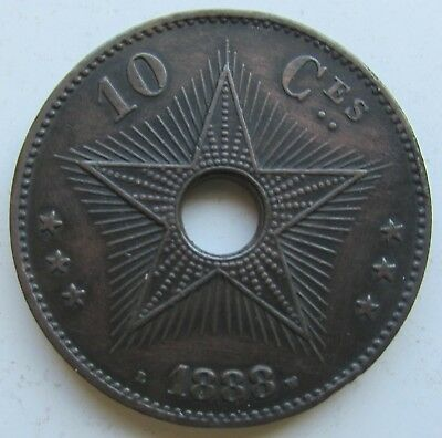 Congo Free State, Royal Domain, 1888 10 Centimes, Leopold II