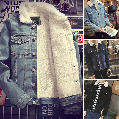 Men's Western Vintage Fleece Jacket Fur Lining Coat Jean Denim Warm Coat Outwear