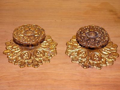 Pair Vintage Antique Brass Door Drawer Knobs Handles