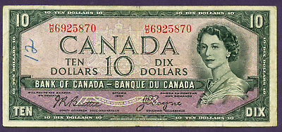 CANADA   1954   ( 1957 )  10 Dollars    World paper money bank note currency