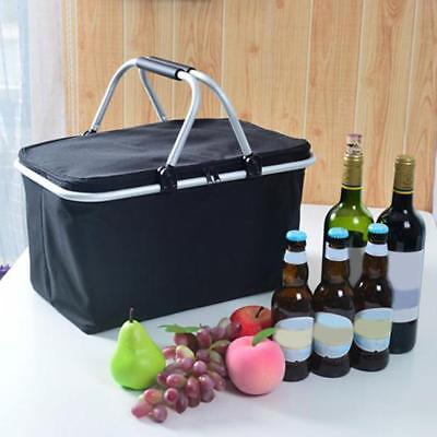 Large Size Insulated Cooler Bag Folding Collapsible 32L Picnic Basket Black