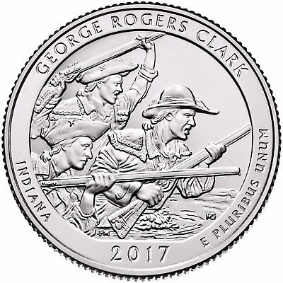 """2017 GEORGE ROGERS CLARK, IN """"ATB"""" NATIONAL PARK QUARTER P or D MINT 1-COIN FREE"""