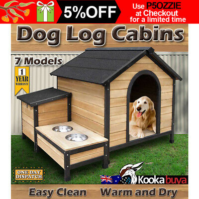 Pet Dog Kennel House Timber Wooden Log Cabin Wood Indoor Outdoor Waterproof