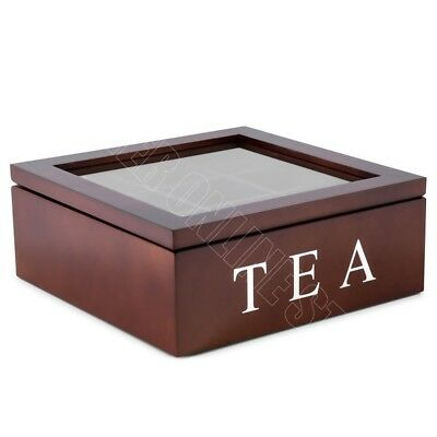 9 Compartments Wooden Tea Storage Box Glass Top Container Chest Tin Square Brown