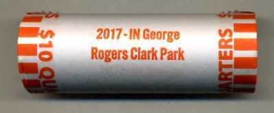 "2017 GEORGE ROGERS CLARK, IN. ""ATB"" NATIONAL PARK QUARTER BANK WRAP ROLL P or D"