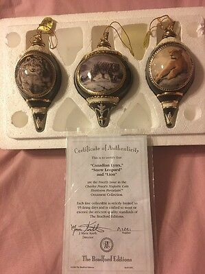 3 Charles Frace Majestic Cats Ornaments 4th Issue Bradford 2000 & Certificate