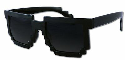 8-Bit Pixel Retro Computer Sun Glasses Nerd Sunglasses 8 Bit Black