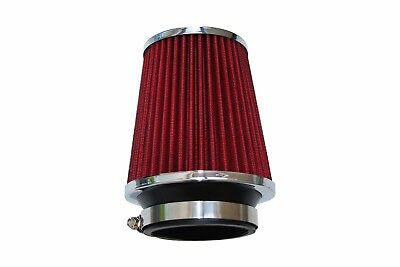 Red 65 mm Air Filter Induction Sport Mesh Cone Chrome Finish Universal /2007