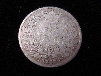 Great Britain 1837 Sterling Silver Sixpence Coin #ADL3