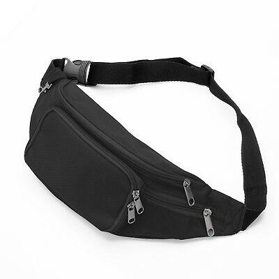 Running Bag Bum Travel Handy Hiking Sport Fanny Pack Waist Belt Zip Pouch-Black