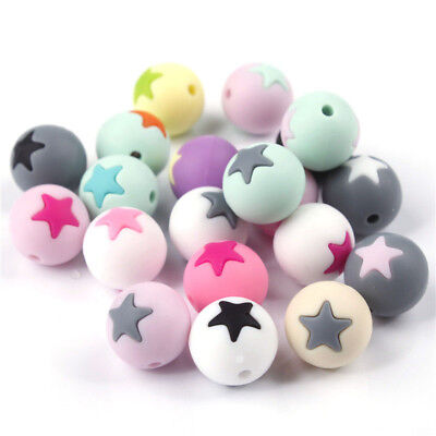Round Star Silicone Teething Beads DIY Baby Molar Chewable Necklace Loose Bead