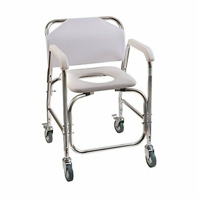 Shower Chair With Wheels Commode Chair and Padded Toilet Seat Shower Transport