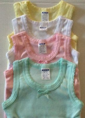 New Set Of 4-Girl's Tank-Top Solid 100% Cotton Sleeveless Undershirt Sizes: 1-12