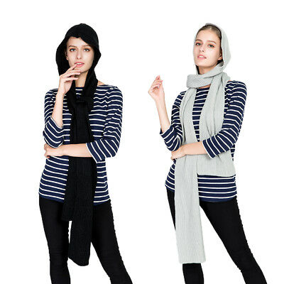 Ultra Soft Women Girl Knitted Scarf Hat Winter Hooded Skiing Scarves Snood Wraps