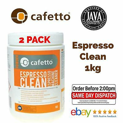 2 x CAFETTO ESPRESSO CLEAN 1KG PROFESSIONAL COFFEE MACHINE CLEANER BACK FLUSH