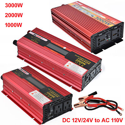 3000W WATT Peak Car LED Power Inverter DC 12V to AC 110V Dual Converter Charger