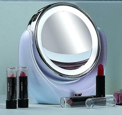 Illuminated 5X Magnifying Make Up Vanity Mirror Soft LED Light Portable Swivel