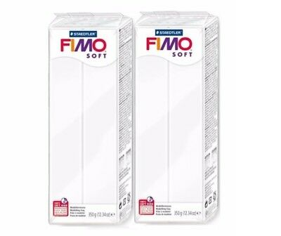 2 x FIMO Soft 350g Polymer Modelling Clay Oven Bake White