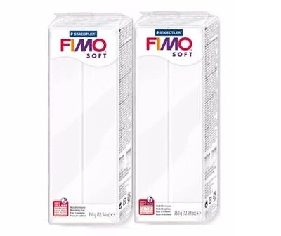 3 x FIMO Soft 350g Polymer Modelling Clay Oven Bake White