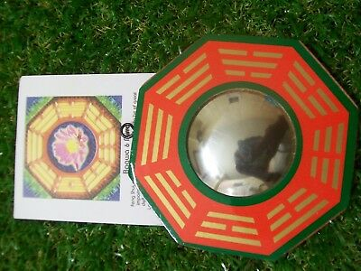 Bagwa Mirror, Convex , Green red & gold - 105mm bw022