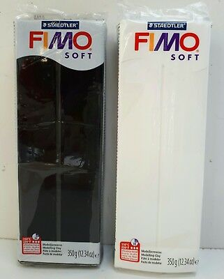 2 x FIMO Soft 350g Polymer Modelling Clay Oven Bake - Black & White