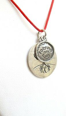 kabbalah red string silver hamsa tree of life necklace medallion amulet luck