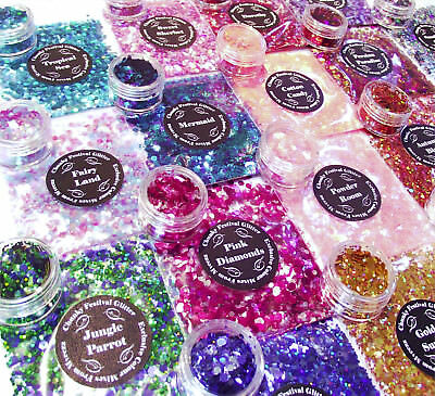 Chunky Mixed Glitter Festival Pot or Bag For Face Eyes Body Tattoo Party Nails