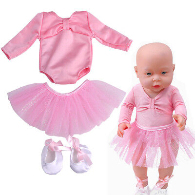 3pcs/set Doll Ballet Dance Set Skirt Dress shoes Outfit Clothes Skinny For zapf