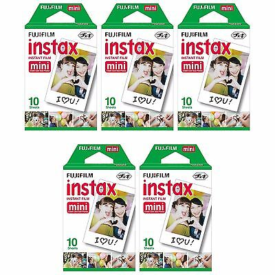 5 Packs 50 Instant Photos FujiFilm Fuji Instax Mini Film Polaroid 7S 8 50S SP-1