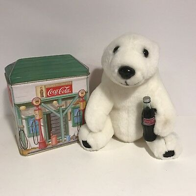 "Coca Cola Bundle: Stuffed Plush Polar Bear w/ Bottle 7"" + Coke Gas Station Tin"