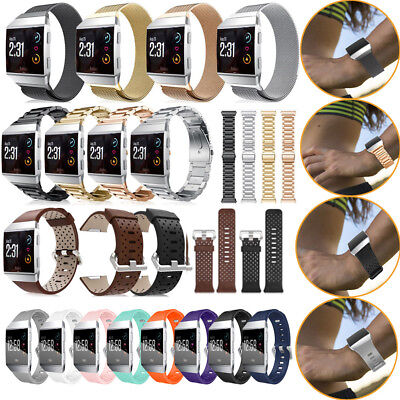 Stainless Milanese Watch Band Silicone Leather Wristband Strap for Fitbit Ionic