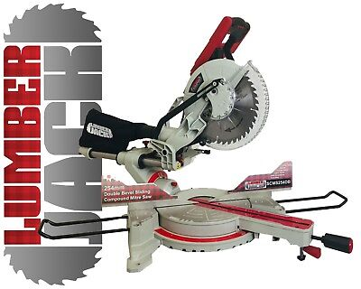 "Lumberjack 10"" Double Bevel Sliding Compound Mitre Saw with Laser 240v"