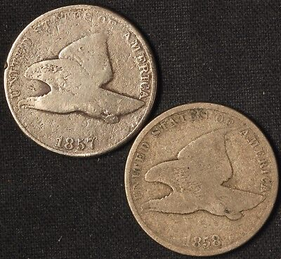 1857 and 1858 Flying Eagle Cents - Free Shipping USA