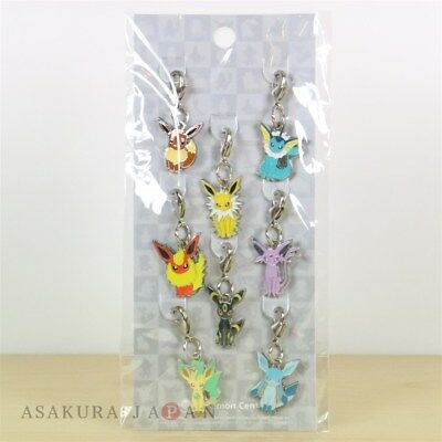 Pokemon Center Metal Charm # 133 Eevee Evolutions 8 pc Vaporeon Leafeon Espeon