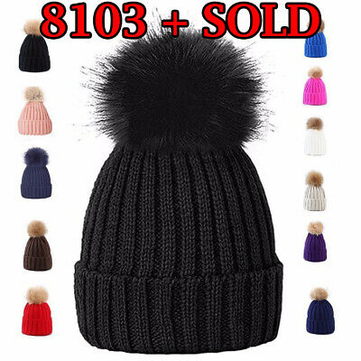 Ladies Pom Pom Hat Women Winter Cap Cosy Beanie Warm Hat Fluffy Pom Pom