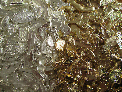 500 MILAGROS (250 gold & 250 silver) mexican folk art charms, wholesale 1 POUND