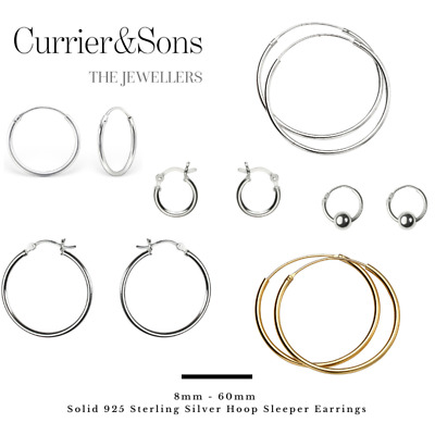 Solid 925 Sterling Silver 8mm - 40mm Hoop Sleeper Earrings (Pairs)