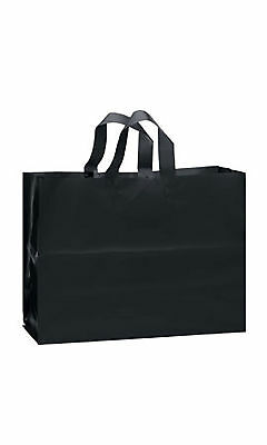 Plastic Shopping Bags 25 Black Frosted 16 x 6 x 12 Frosty Merchandise Gift Vogue