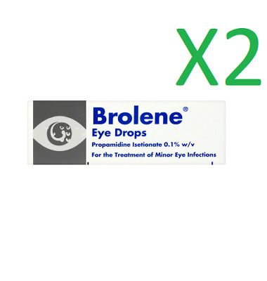 2 x Brolene 10ml minor bacterial eye infections drops