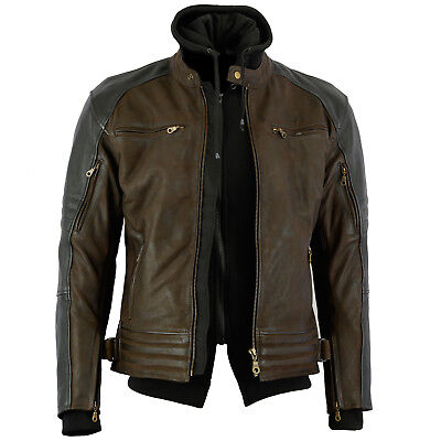 New Mens Waxed Premium Nubuck Leather Jacket With Removable Hoodie Sons Anarchy