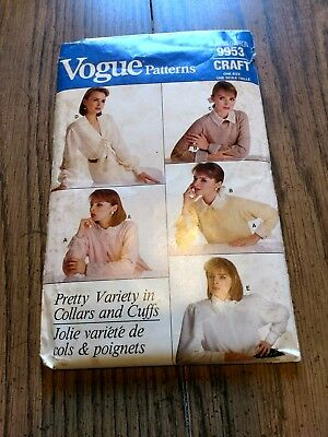 Vogue pattern 9953 Craft one sz collar,scarf,bow,cuffs 1987