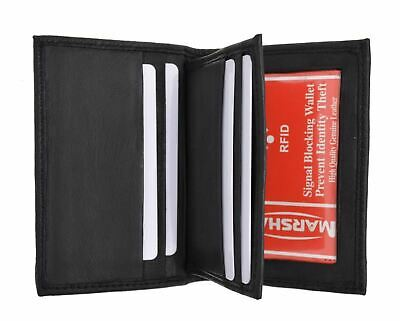 RFID Blocking Premium Leather Center Flap Credit Card ID Holder Bifold Wallet