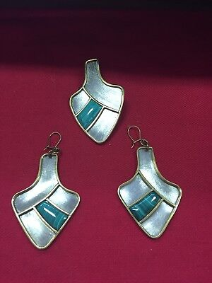 Vintage Antique 3Pc Set Sterling Silver Jewelers Bronze Malachite Earrings Pin