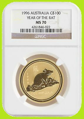 1996 Chinese Lunar Year of the RAT NGC MS 70 AUSTRALIA 1 OZ 9999 GOLD