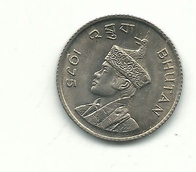 A High Grade Bu 1975 Bhutan 25 Chetrums Coin-Oct584