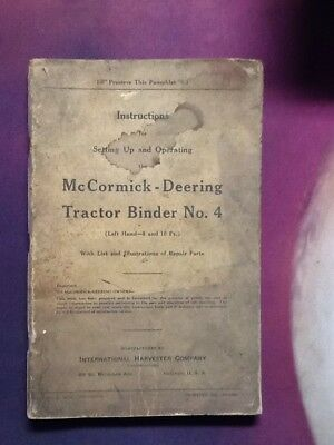 Vintage McCormick Deering Tractor Binder No. 4 Used International Harvester
