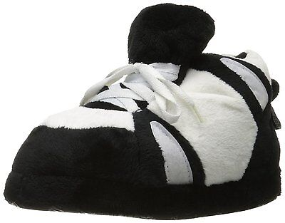 NEW Happy Feet Mens and Women's Black and White Sneaker Slippers Size: Small