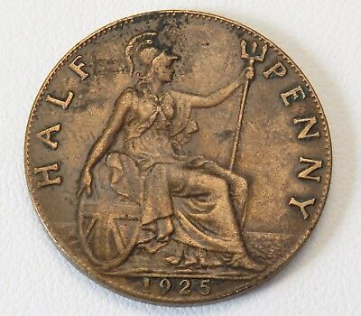 Nice 1925 Great Britain Half Penny Coin Lot 791