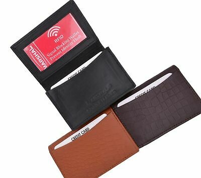 Croco Pattern RFID Blocking Leather Business Card Holder With Expandable Pocket