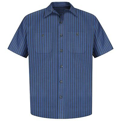 Red Kap Mens Short Sleeve Stripe Work Shirt - Gray / Blue